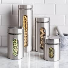 stainless steel kitchen canister set ksp ellipse cylinder canisters set of 4 stainless steel