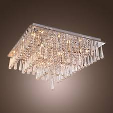 Ebay Ceiling Light Fixtures by Modern Luxury Crystal Drop Square Flush Mount Chandelier Ceiling