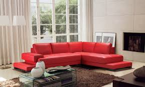 Modern Leather Sofa Divani Casa Moscow Modern Red Leather Sectional Sofa