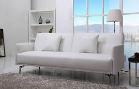 White Leather Sofa Bed Uk Sven Faux Leather Sofa Bed In A Luxurious White Furniture