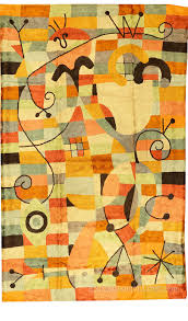 Modern Area Rug by Miro Rugs Abstract Wall Hangings Accent Carpets Hand Embroidered
