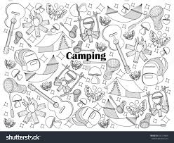 camping design colorless raster illustration stock