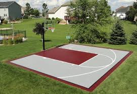 Build A Basketball Court In Backyard Impressive Ideas Basketball Court Installation Beauteous Versa