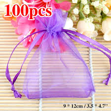 organza favor bags sale for christmas 100pcs lavender organza bags 9x12cm sheer