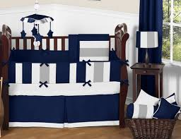 Design Crib Bedding Sweet Jojo Designs Modern Stripe Gray Navy Blue Designer Crib Baby