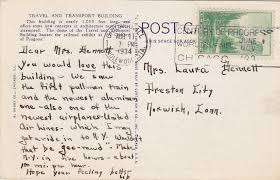 at the fair postcard message travel and transport building
