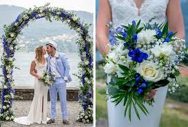 flower arch image showing blue bouquet and ceremony flower arch