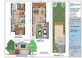 floor narrow lot duplex house plans and zero line for enjoyable