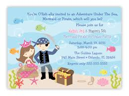 5th birthday party invitation pirate and mermaid birthday party invitation digital file