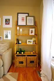 Leaning Ladder Shelf White Lovable Oak Wooden Ladder Shelf As Open Shelf Storage Added Grey