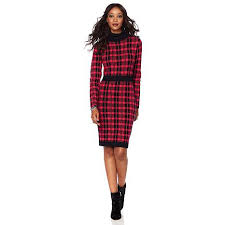sweater dress wendy williams plaid turtleneck sweater dress 8441723 hsn