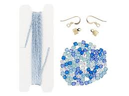 wire lace wirelace blue gold cascade tassel earrings supplies and template