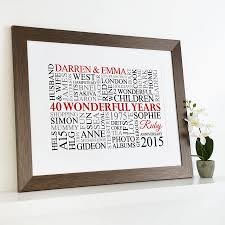 40th wedding anniversary gift personalised ruby anniversary word by cherry pete