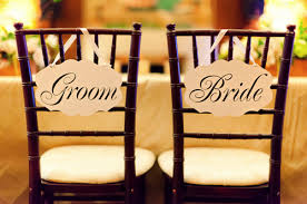 and groom chair signs wedding signs