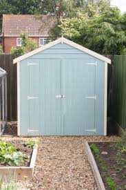 beach hut inspired garden shed pastel blue get shed plans
