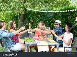 group friends having fun picnic lunch stock photo 687945274
