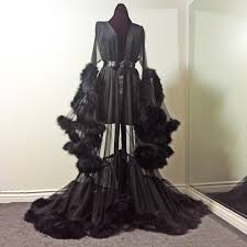 dressing gown boudoir by d lish sheer black marabou dressing gown