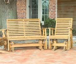 Outdoor Single Glider Chair Amish Pine Wood Roll Back Single Glider