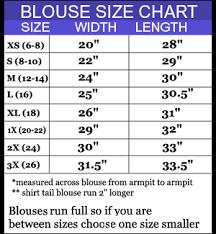 blouse size chart s blouse size chart blouse with