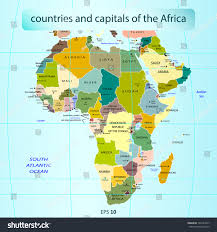 Africa Map With Capitals by Countries Capitals Africa Stock Vector 128143457 Shutterstock