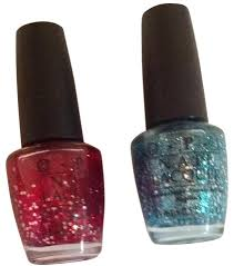 opi 2 new glitter nail polish set red blue