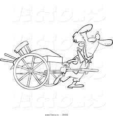 vector of a cartoon amish man pulling a hand cart outlined