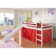 White Wood Loft Bed With Desk by Donco Kids Twin Loft Tent Bed With Slide White Walmart Com
