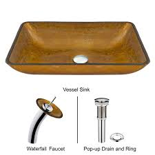 Waterfall Kitchen Sink by Rectangular Copper Glass Vessel Sink And Waterfall Faucet Set