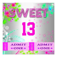 personalized girls 13 teen birthday party invitations