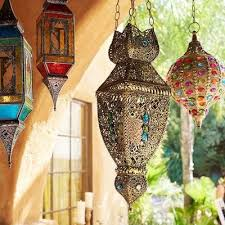 gypsy gem embellished boho hanging lantern moroccan jewel and iron