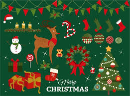 christmas design elements with colored illustration free vector in