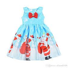 2018 2018 Children Christmas Dress Santa Reindeer Xmas Bow Baby Girl