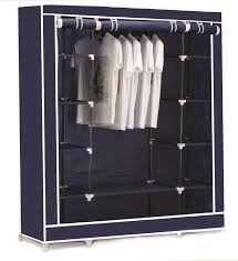 clothes cupboard vinsani triple canvas clothes wardrobe cupboard hanging rail with