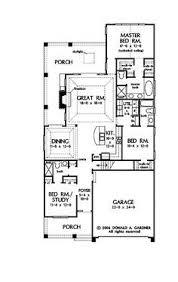 narrow house plan stylish plan for a narrow lot hwbdo69203 bungalow house plan