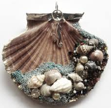 decorated seashell could be used as an ornament or a pendant