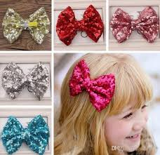 girl hair bows new baby girl fashion paillette sequins bowknot hair