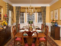 graceful dining room window treatments with large glossy wood