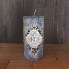 luxury pillar candle swarovski crystals home decor single wick