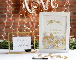 fall wedding guest book personalized wedding guestbook heart drop box gold or silver