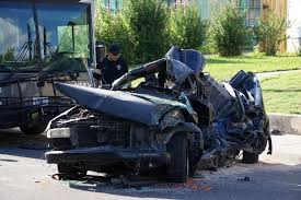 via bus involved in five car accident that sends two to the