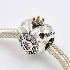 sterling silver crystal heart bracelet images Original 925 sterling silver beads crystal heart princess charm jpg
