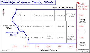 mercer map townships mercer county il usa