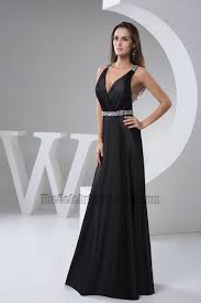 celebrity inspired backless black evening gown prom dress