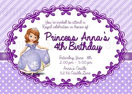 Princess Themed Birthday Invitation Cards Sofia The First Birthday Invitations Kawaiitheo Com