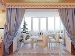 dining room window curtain with white dining set and rounded table