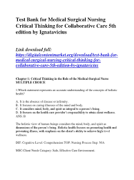 test bank for medical surgical nursing critical thinking for
