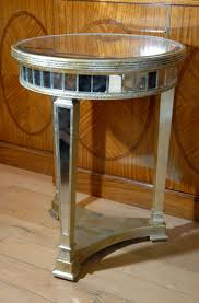 furniture minimalist picture of round mirrored side table and
