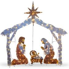 decorating battery operated lighted religious nativity scene