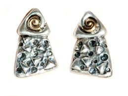 clip on earring silver gold triangular clip earrings made by dian malouf