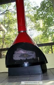 retro mid century modern red preway fireplace enamel freestanding